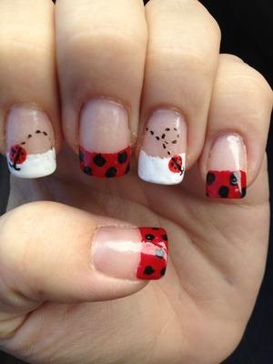 Cute summer lady bug nails