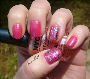 China Glaze Fuchsia Fanatic and NYC Love Letter.  Wet N Wild Sparked and Party of Five Glitters on the accents nails