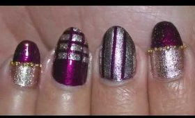 Nail Art Striping Tape Design ~ Purple and Gold Nail Art