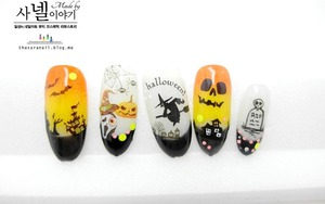 I made it with Halloween water decals. simply check it at And let's apply them to make nails for Halloween. Do check it at http://saranail.blogspot.com