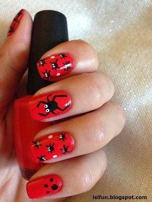 Halloween Nails. For a tutorial please visit my blog. Using O.P.I. Red lights ahead where?