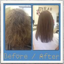 before/after keratin. kertherapy-diora. great product!!!!
