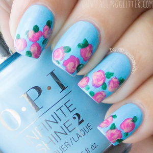 I did a vintage rose mani using the products using OPI Infinite Shine Gel Effects Lacquer System OPI Infinite Shine Primer Base color- 2 thin coats of To Infinity & Blue-yond Roses- Girl Without Limits and You can Count On It OPI Infinite Shine Gloss