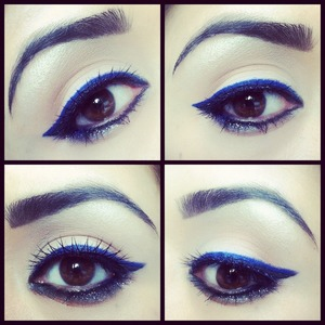 Royal Blue Eyeliner   ladyartlooks.com youtube.com/ladyart7