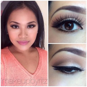 """Pink plaid on the lips, house of lashes """"pixie luxe"""", mac vanilla pigment on the lid 😊😊"""