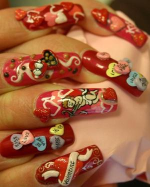 valentines day nails notice the chocolate box and be mine candy i just loved the details