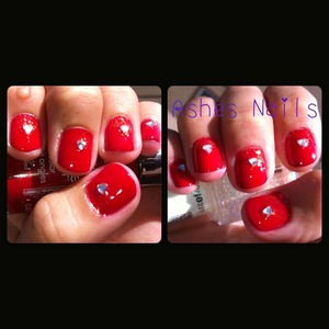 Used shine of the times Essie triangles at base with triangle rhinestones over Sally Hansen's cherry red.