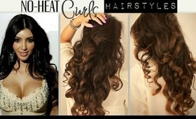 ★KIM KARDASHIAN BIG CURLY NO-HEAT CURLS WAVES | CUTE SCHOOL HAIRSTYLES FOR MEDIUM LONG HAIR TUTORIAL