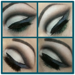 Cut crease in black & white with a touch of blue & green.