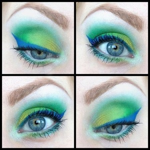 To create this colourful look I used Sleek's 'Acid' and Ultra Matte v1' palettes and Concrete Mineral's 'Bulletproof' for the winged eyeliner :)