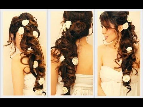 Voluminous Homecoming Wedding Hair Tutorial Elegant Curly Half Up Updo Hairstyles For Long Hair Makeupwearables Hairstyles Hair Tutorial On Thursdays Video Beautylish