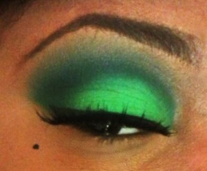 I used two green colors out of my eyeshadow palette I got from Blush Professional (Only $17). I used my NYX pencil in 'milk' as a base & some Elf brushes. . . Liner is MAC's liquid liner & lashes are by Eyelure.. . I also used MAC Bronze on my lower lash line.