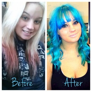 Done for NAHA competition for both color and texture. Great day! Used loads of lightener and Pravana Blue and Green!