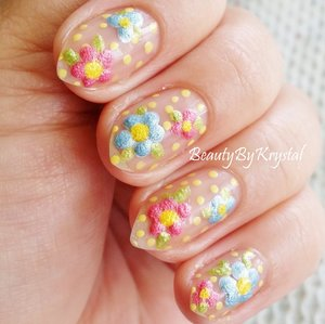 Mrs. P's Nail Potions, textured polishes, dotted flowers and polka dots. http://www.beautybykrystal.com/2014/05/mrs-ps-nail-potions-spring-has-sprung.html
