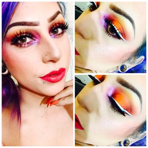 Kryolan UV Aquacolor in Orange as base Bhcosmetics 120 pallete used bright orange for lid. red for outer and inner crease then lightly used black to darkin up those colors. I did the same to my bottom lash line I then blended a neutral yellow up to my brow bone and the same yellow to my lower lash line  I used jesse's girl peekaboo and Mac Helium as my inner corner highlight  Prestige liquid liner in white and black  Eyelure lashes #202  Kat Von D Everlasting liquid lipstick in Bachelorette  Kat Von d contour pallete Nars Taos and unlawful blush  Becca highlight in opal