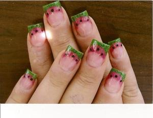 acrylic watermelon designs with painted seeds.