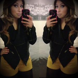 Outfit of the day mustard shorts n black. Jacket