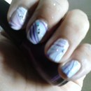 Water marble nails purple