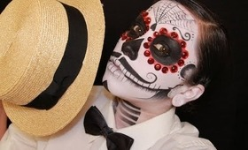 Mens Dia de los muertos (day of the dead) face paint tutorial