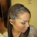 Hair braided on the side
