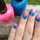 Neon Pink/Blue Gradient Nails