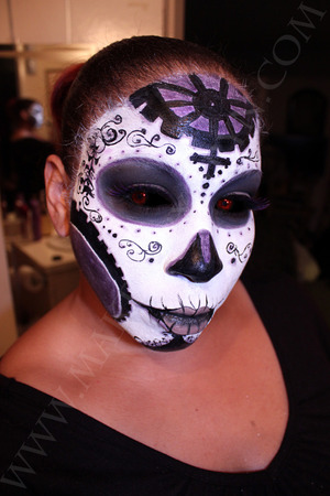 My recreation of the Dia De Los Muertos Makeup drawn by Joe Benitez of his character Lady Mechanika. This photo has photshopped eyes to look like hers.