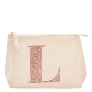 Rose Gold Glitter Initial Makeup Bag Letter L