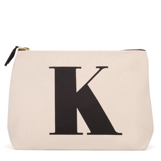 Natural Wash Bag Letter K