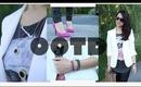 OUTFIT  | Skull Tee, Tux Blazer, & Pink heels