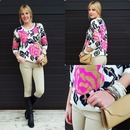 ROMWE Retro Spun Rose Scoop Neck Cream Jumper