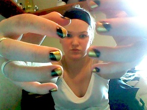 taped nails, black & gold