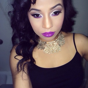 Neutral eye, pop of purple on lower lash line & Heroine lipstick from Mac