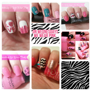 Full descriptions & colors used up on the blog http://www.hairsprayandhighheels.net/2013/03/on-wednesdays-we-wear-pink-notd.html