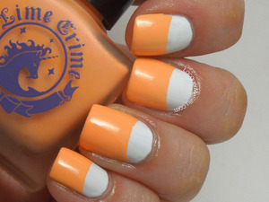 Half Moon style manicure using Lime Crime Peaches <3 Cream. For more information please visit my blog post: http://www.lacquermesilly.com/2013/07/17/half-moon-peaches/