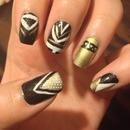 black gold Aztec nails