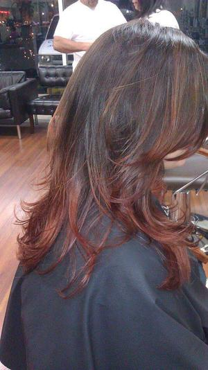 Amy came in with a washed out, faded red. So, I decided to take her to a beautiful brown base fading into a gorgeous custom red color. After the color, I also cut and styled it.