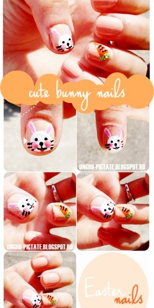 cute bunny/easter nails