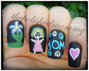 Nail Art Challenge: Doodles. http://www.thepolishedmommy.com/2013/05/happy-mothers-day.html