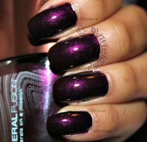 Two coats of the gorgeous Amethyst by Mineral Fusion. A very deep dark plum shimmer. ♥_♥ Absolutely stunning.