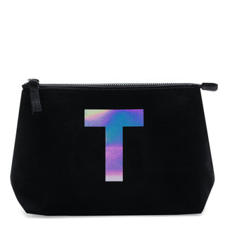 Holographic Foil Initial Makeup Bag Letter T