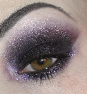 Smoky eye with a touch of purple.