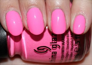 See more swatches here: http://www.swatchandlearn.com/china-glaze-shocking-pink-swatches-review/