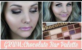 GRWM: Too Faced Chocolate Bar Palette/ Glowy Skin Soft Pink Lips