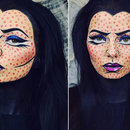 Maleficent Style Comic / Pop Art Halloween Makeup
