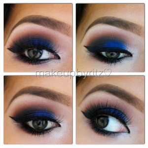 💙🚬💎 Blue smokey eye using mostly UD's #VicePalette 💎🚬💙  1⃣ Prime your lids with UDPP 2⃣ Mix  MAC's rule e/s with saddle e/s and sweep onto the crease  3⃣ Apply @urbandecay 's Chaos e/s to the lid. To intensify the color, spray with Fix + 😉 4⃣  Apply @urbandecay 's anonymous eyeshadow near the tear ducts and underneath the brows. 5⃣ Darken the outer corner with @urbandecay 's black market e/s 6⃣ Line your top lids and lower water line. I used NYC liquid liner & Victoria's Secret pencil liner.  7⃣ Smoke out your lower lash line by layering black market, chaos, then rule (Mac) 8⃣ Add your favorite pair of lashes. Mine are famous @houseoflashes ✨ #pixieluxe✨ lashes 😍  #vegas_nay #mayamiamakeup #dressyourface #ilovemaciggirls #gorgeouskb #glamtrashmakeup #pala_foxxia #houseoflashes #pixieluxe #falsies #motd #eotd