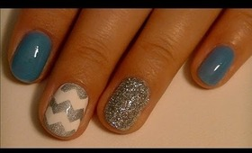 Chevron Blue and Silver Nail Design