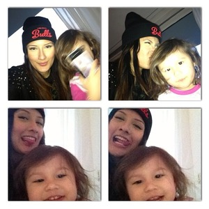 This is me and my daughter who's already crazy about beauty!