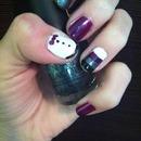Tux/ stripe nails