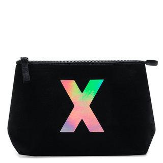 Holographic Foil Initial Makeup Bag Letter X