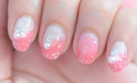 Pink glitters, stars and pearl deco gyaru inspired nail design tutorial